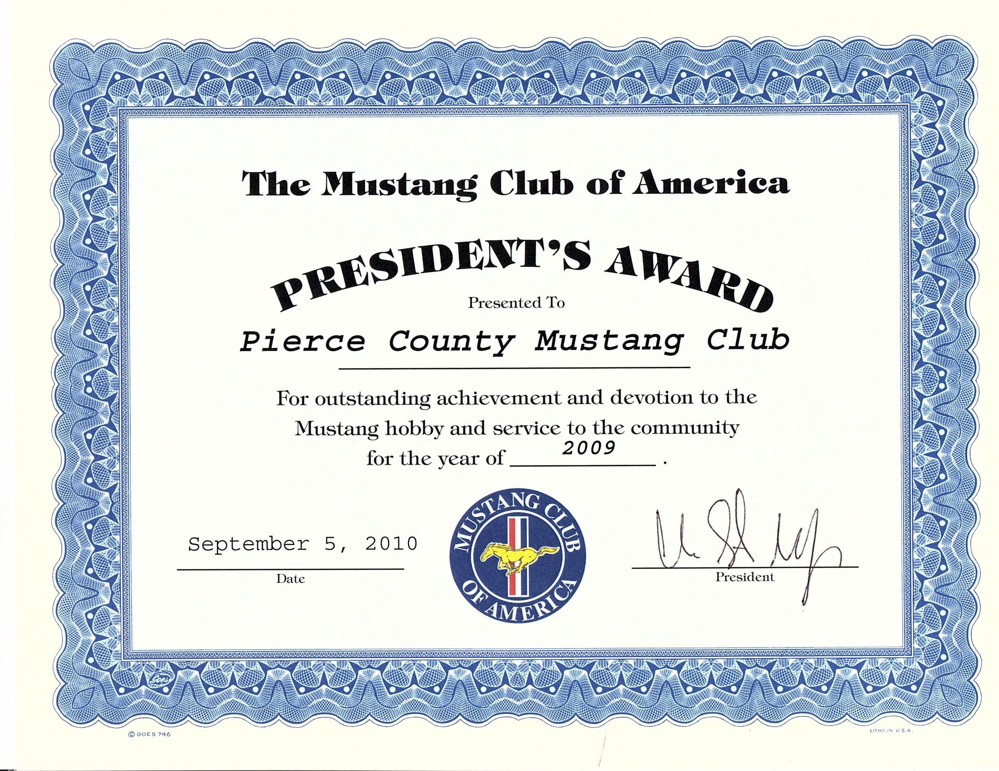 Awards Pierce County Mustang Club