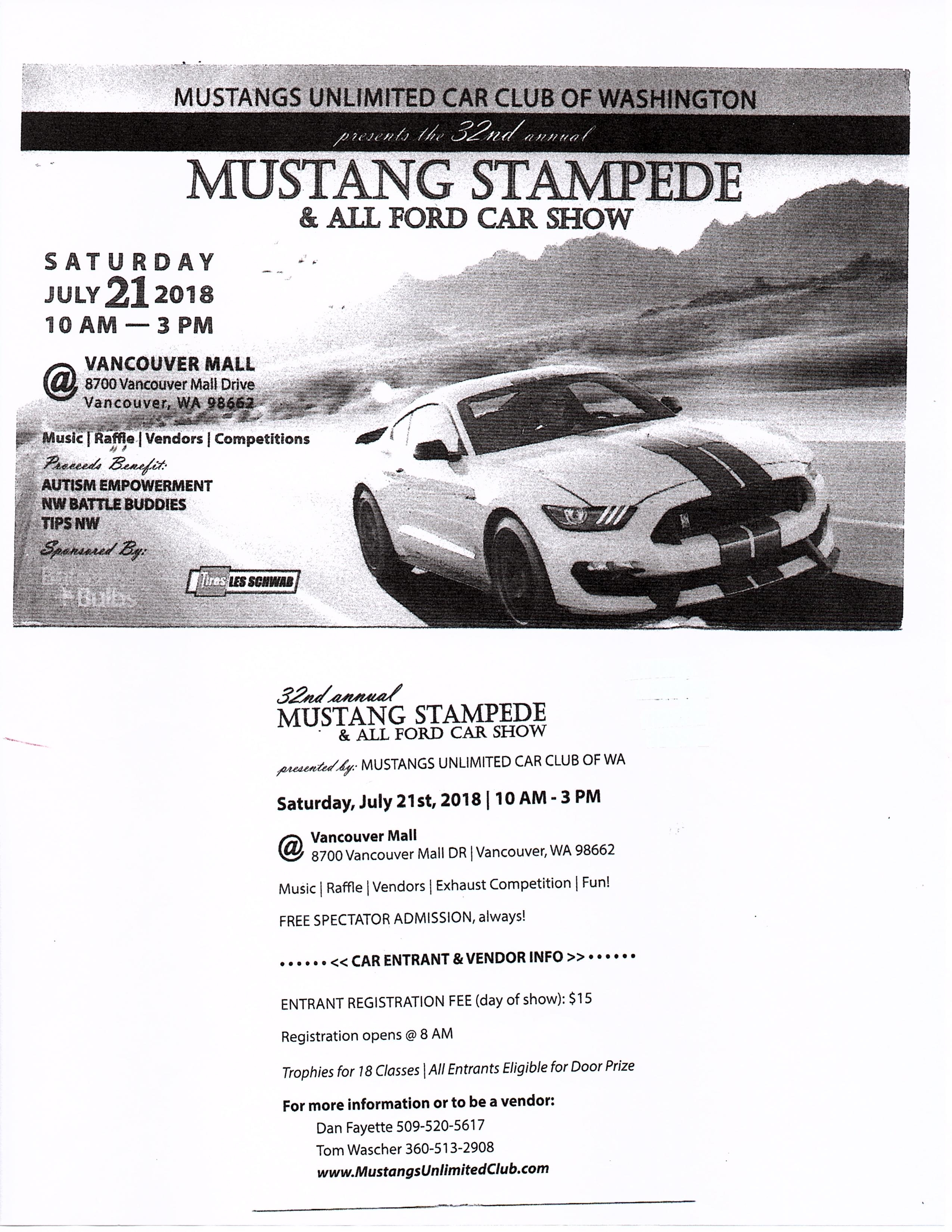 Mustangs Unlimited Vancouver WA Mustang Stampede All Ford Car - Car show vancouver 2018